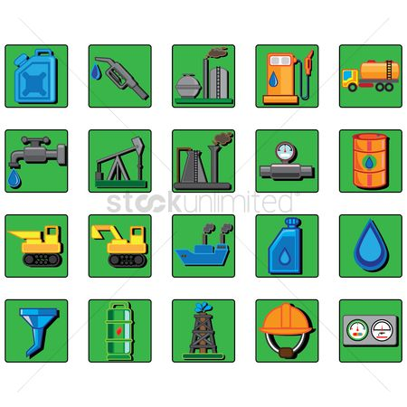 Machineries : Set of oil and gas icons