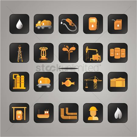 Gases : Set of oil and gas items