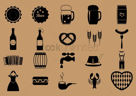 Smoking pipe : Set of oktoberfest icons