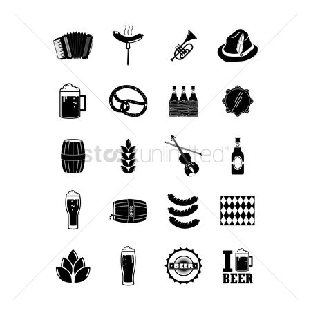Beer mug : Set of oktoberfest icons