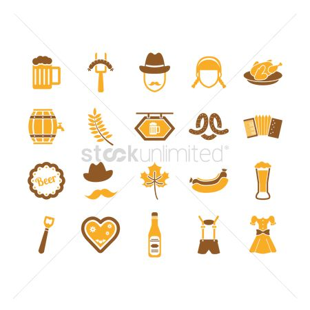 Wooden sign : Set of oktoberfest icons