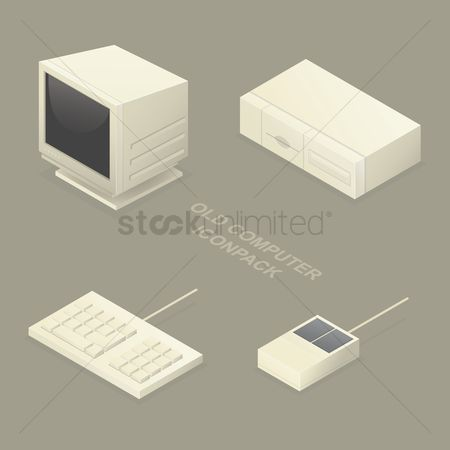 Cpu : Set of old computer icons