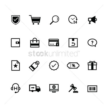 Favourites : Set of online shopping icons