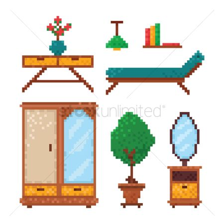 Illumination : Set of pixel art furniture icons