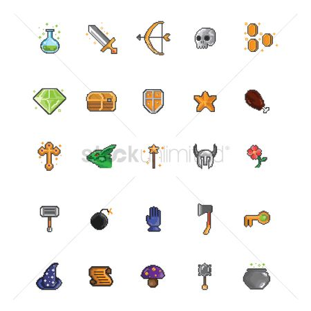 Flower pot : Set of pixel art gaming icons