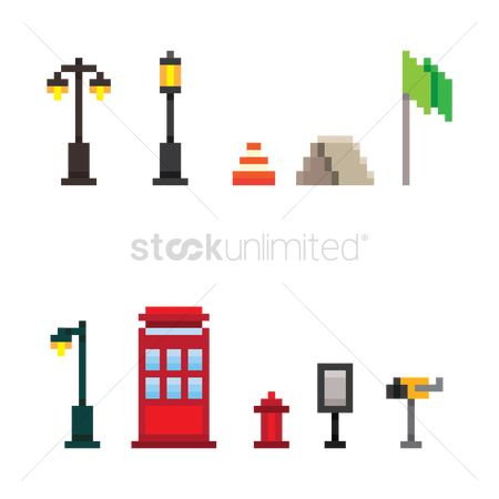 Lighting : Set of pixel art infrastructure icons