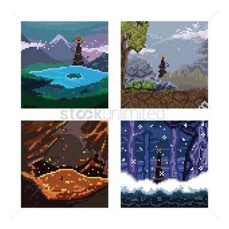 Lighthouses : Set of pixel art landscape icons