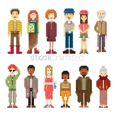 Footwear : Set of pixel art people icons