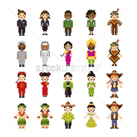 Mexicans : Set of pixel art people icons