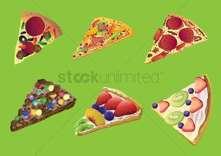 Blueberry : Set of pizza slices
