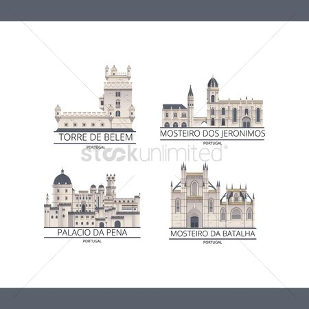Pena national palace : Set of portugal monuments