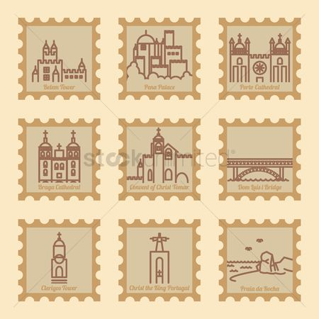 Metal arch bridge : Set of portugal postal stamps with landmarks
