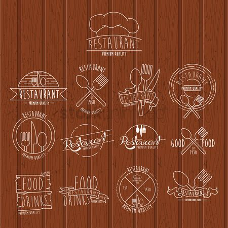 Style : Set of restaurant labels