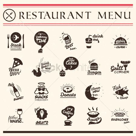 Pizzas : Set of restaurant menu