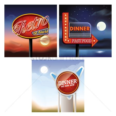 Eat : Set of retro signboard