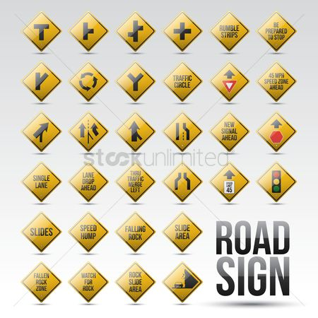 Narrow road ahead sign : Set of road signs