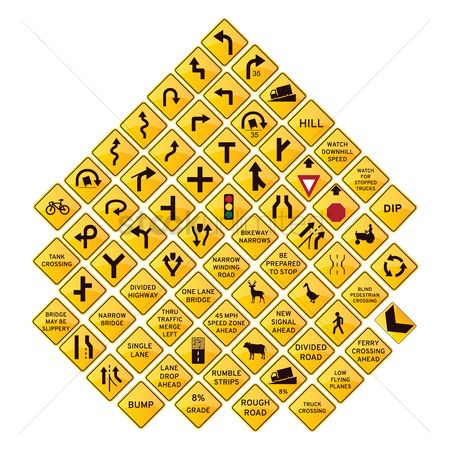 Caution : Set of road signs