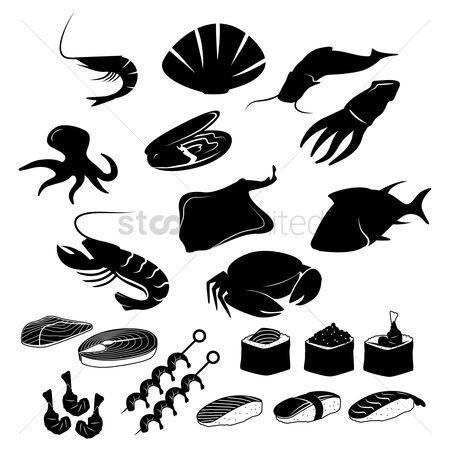 Croissants : Set of seafood icons