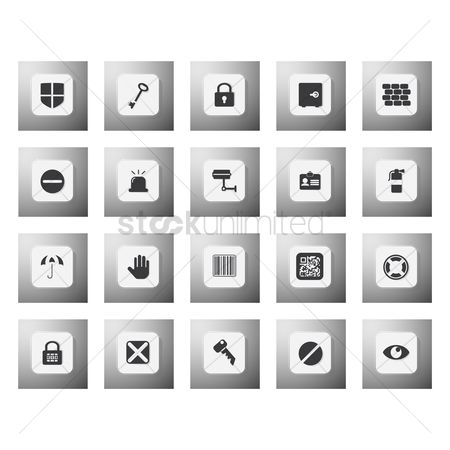 Fire extinguisher : Set of security icons
