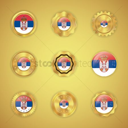 Nationality : Set of serbia flag buttons