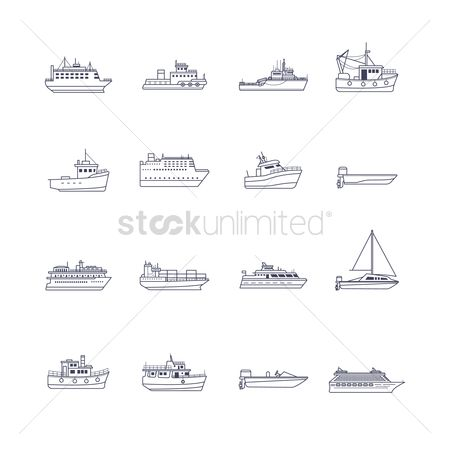 Recreation : Set of ship icons