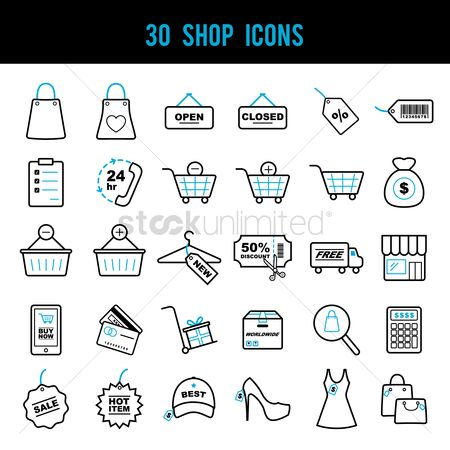 Trolley : Set of shop icons