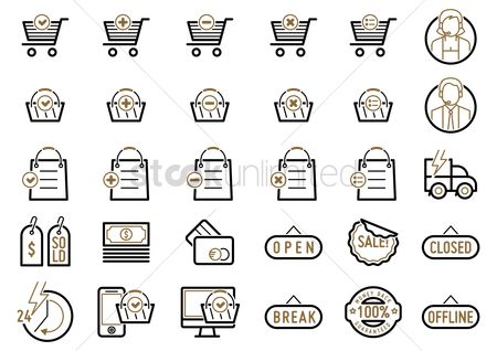 Currencies : Set of shopping icons