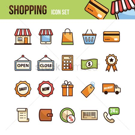 Awning : Set of shopping icons