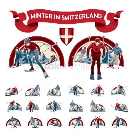 Skiing : Set of skier icons