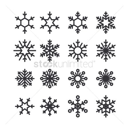 Simplicity : Set of snowflake icons