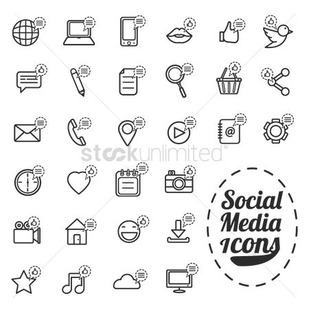 Comment : Set of social media icons