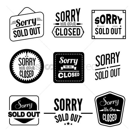 Sold : Set of sorry text and labels