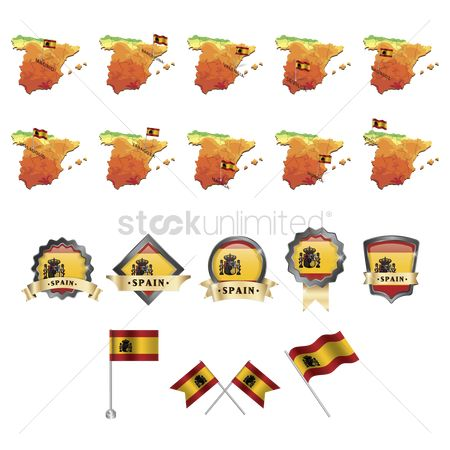 Valencia : Set of spain flag and map icons