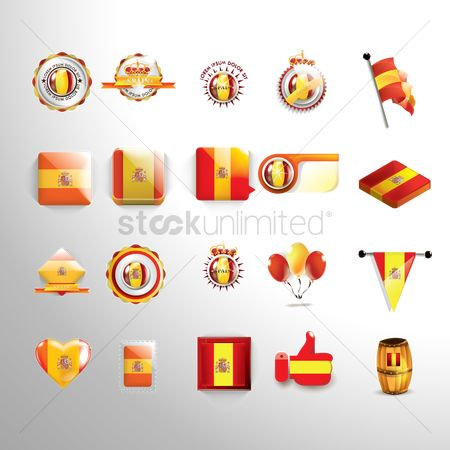 Whistle : Set of spain flag icons