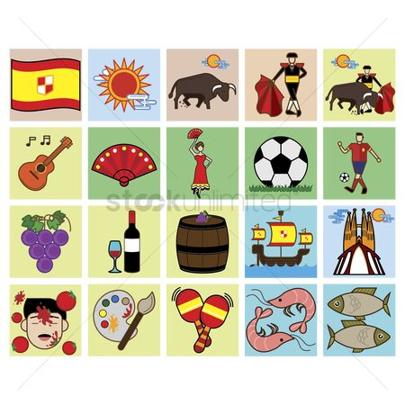 Footballs : Set of spain general icons