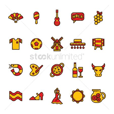Wine barrel : Set of spain icons