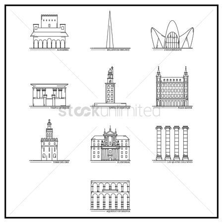 Les quatre columnes : Set of spain landmarks