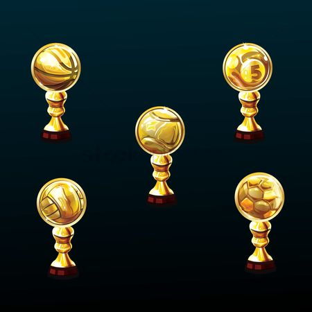 Soccer : Set of sports trophy