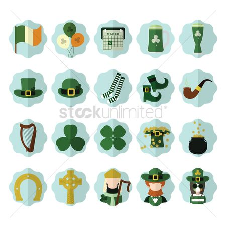 17 : Set of st  patrick s day icons