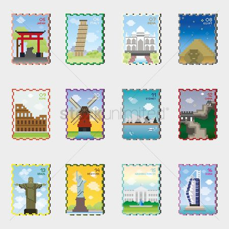 Towers : Set of stamp icons