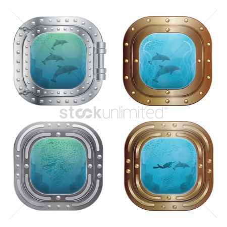 Marine life : Set of submarine windows