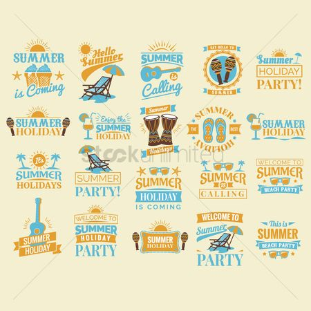 Musicals : Set of summer holiday design