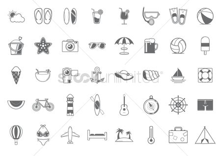 Paddle : Set of summer icons