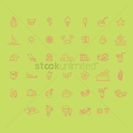 Sunray : Set of summer icons
