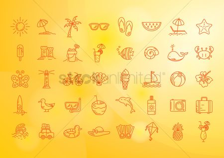 Seashore : Set of summer icons