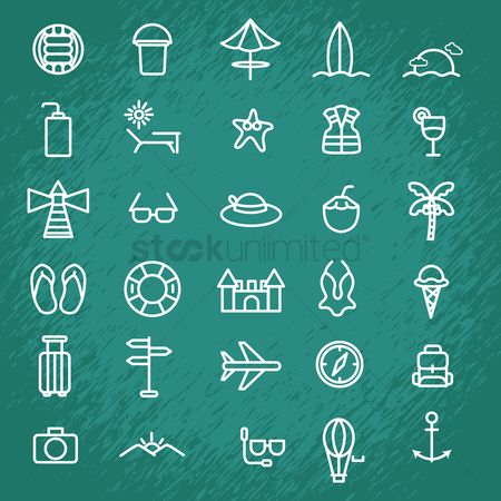 Aeroplanes : Set of summer icons