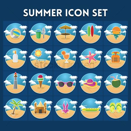 Slippers : Set of summer icons