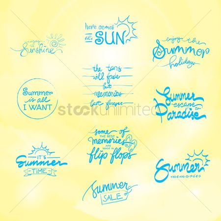 Slippers : Set of summer typographies
