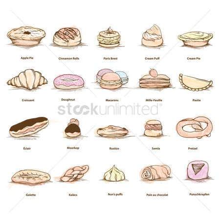 Croissants : Set of sweet food