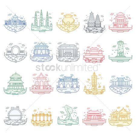 Skyscraper : Set of taiwan destinations icons